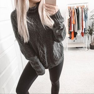 BP Oversized Chunky Cable Knit Turtleneck Sweater